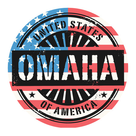 identifier: Grunge rubber stamp with the text United States of America, Omaha, vector illustration