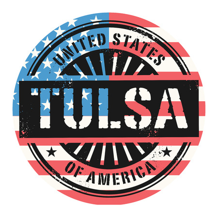 oklahoma: Grunge rubber stamp with the text United States of America, Tulsa, vector illustration Illustration
