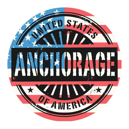 anchorage: Grunge rubber stamp with the text United States of America, Anchorage, vector illustration