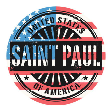 paul: Grunge rubber stamp with the text United States of America, Saint Paul, vector illustration