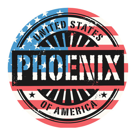 phoenix: Grunge rubber stamp with the text United States of America, Phoenix, vector illustration