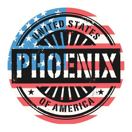 ave fenix: Grunge sello de goma con el texto de Estados Unidos de Am�rica, Phoenix, ilustraci�n vectorial