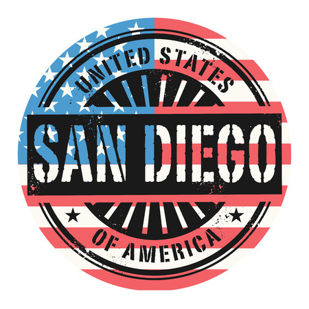 san diego: Grunge rubber stamp with the text United States of America, San Diego, vector illustration