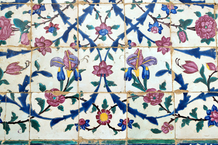 shiraz: Tiled background oriental ornaments from Vakil Mosque in Shiraz Iran Editorial