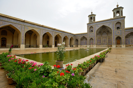 sunni: SHIRAZ  APRIL 15: Nasir alMulk Mosque in Shiraz southern Iran on April 15 2015. This mosque was built between 1876 and 1888 during the Qajar Dynasty in Shiraz Iran. Editorial