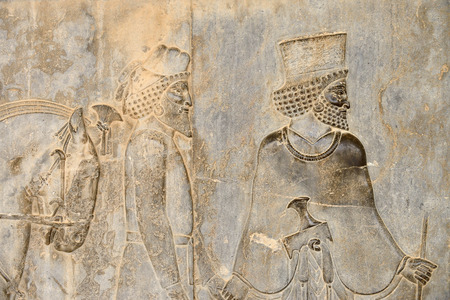 declared: Detail of a relief of the eastern stairs in Persepolis in Iran. UNESCO declared the ruins of Persepolis a World Heritage Site in 1979. Editorial