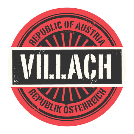 european alps: Grunge rubber stamp with the text Republic of Austria, Villach, vector illustration