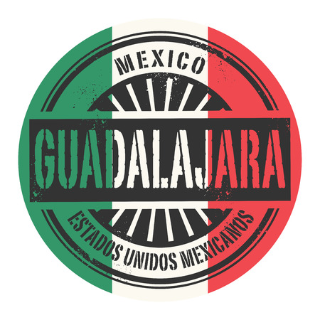 guadalajara: Grunge rubber stamp with the text Mexico Guadalajara vector illustration Illustration