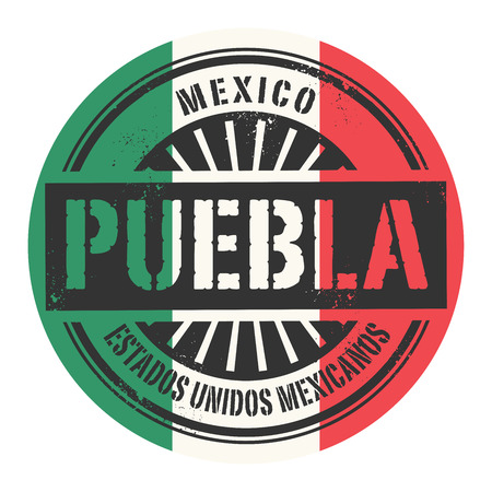 carribean: Grunge rubber stamp with the text Mexico Puebla vector illustration Illustration