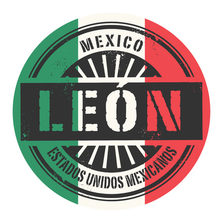 leon: Grunge rubber stamp with the text Mexico Leon vector illustration