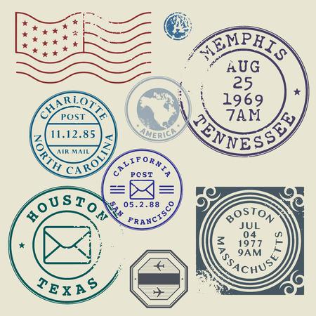 sello: Sellos postales Retro set ilustración vectorial