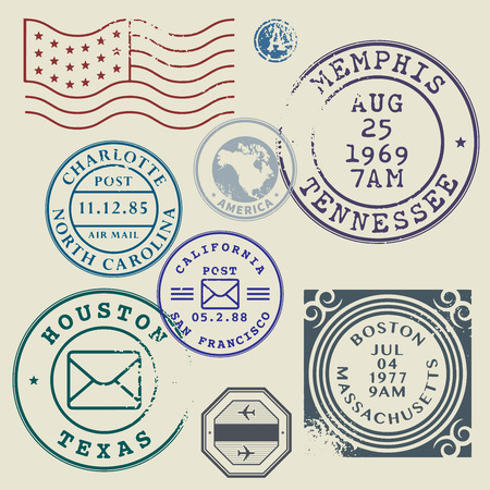 sello: Sellos postales Retro set ilustraci�n vectorial