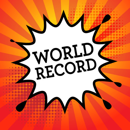 world record: Comic book explosion with text World Record, vector illustration Illustration