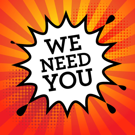 Comic book explosie met tekst We Need You, vector illustratie Stockfoto - 39972642