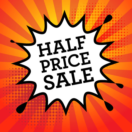 purchased: Comic book explosion with text Half Price Sale, vector illustration