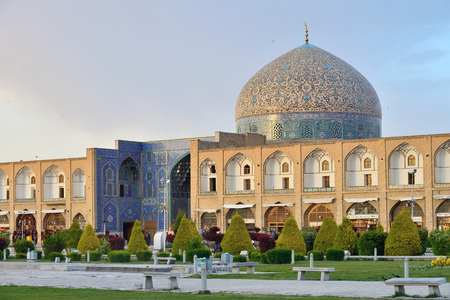 ISFAHAN APRIL 18: Sheikh Lotfollah Mosque in Isfahan Iran on April 18 2015. Construction of the mosque started in 1603 and was finished in 1619. Editorial