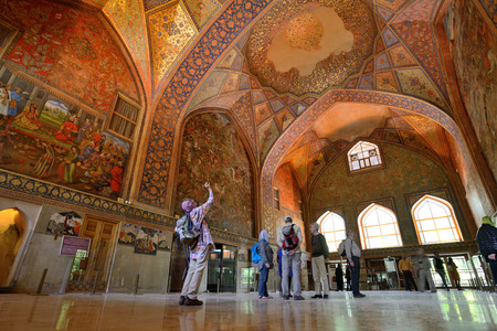 receptions: ISFAHAN  APRIL 19: interior of the Chehel Sotoun palace in Isfahan Iran on April 19 2015. Chehel sotoun was built in 1646 by Shah Abbas II to be used for his entertainment and receptions.