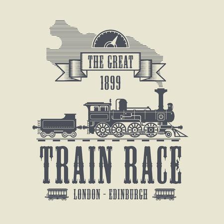 railway history: Train Race abstract, vector illustration