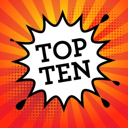 top ten: Comic book explosion with text Top Ten, vector illustration