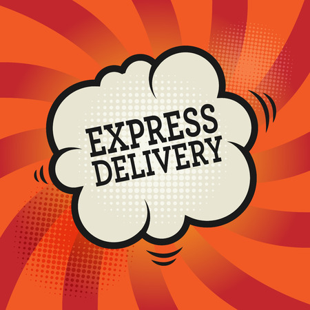 quick: Comic explosion with text Express Delivery, vector illustration