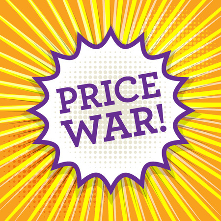 cut the competition: Comic book explosion with text Price War, vector illustration Illustration