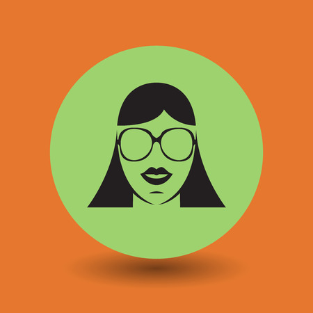 girl wearing glasses: Female face with glasses symbol, vector illustration