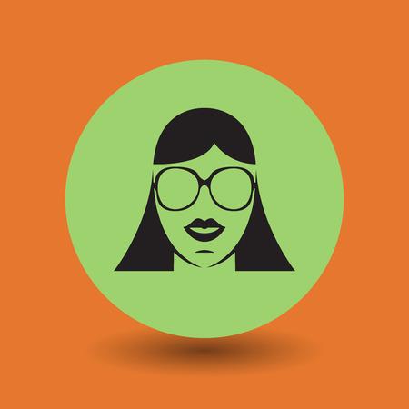 wayfarer: Female face with glasses symbol, vector illustration