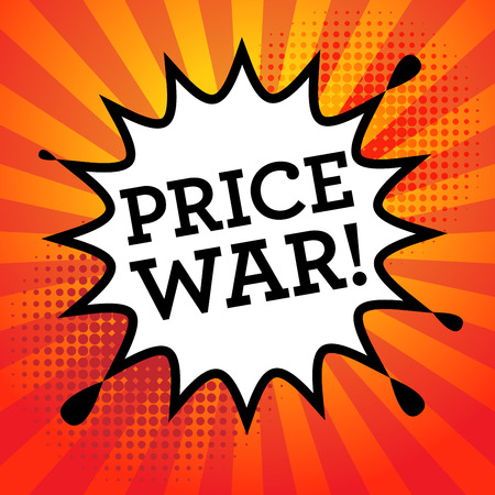 cut price: Comic book explosion with text Price War, vector illustration Illustration