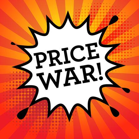 wojenne: Komiks wybuchu wojny cenowej z tekstu, ilustracji wektorowych Ilustracja