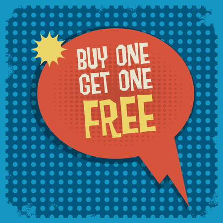 advertised: Comic book explosion with text Buy One, Get One Free, vector illustration