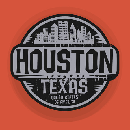 Stamp or label with name of Houston, Texas, vector illustration Çizim
