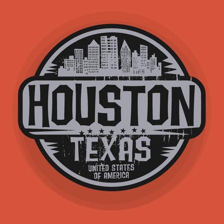 Stempel of het etiket met de naam van Houston, Texas, vector illustratie
