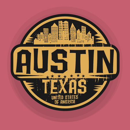 austin: Stamp or label with name of Austin, Texas, vector illustration