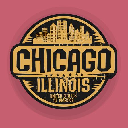 スタンプやシカゴ、イリノイ州、ベクトル図の名前のラベル