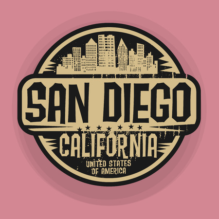 san diego: Stamp or label with name of San Diego, California, vector illustration Illustration