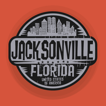 jacksonville: Stamp or label with name of Jacksonville, Florida, vector illustration