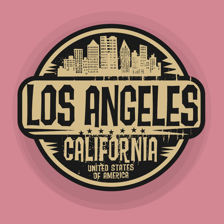 angeles: Stamp or label with name of Los Angeles, California, vector illustration