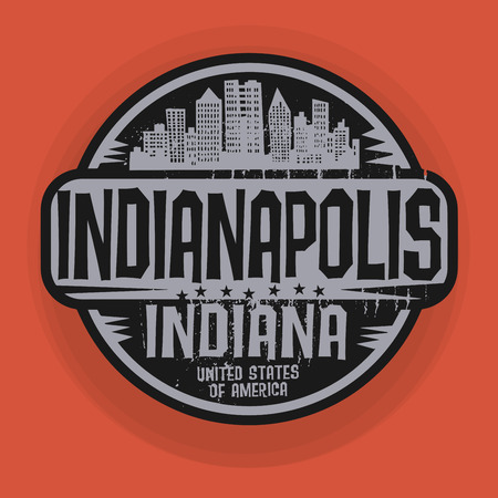 indianapolis: Stamp or label with name of Indianapolis, Indiana, illustration Illustration
