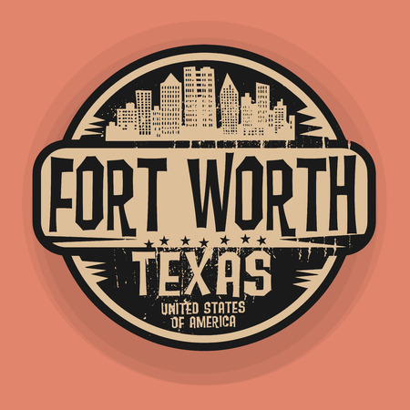 fort worth: Stamp or label with name of Fort Worth, Texas, illustration