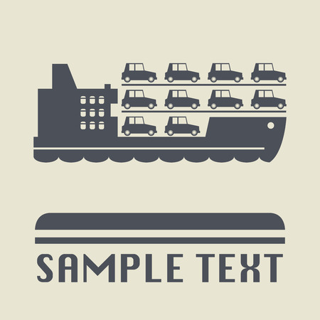 ferry: Ferry boat icon or sign, illustration