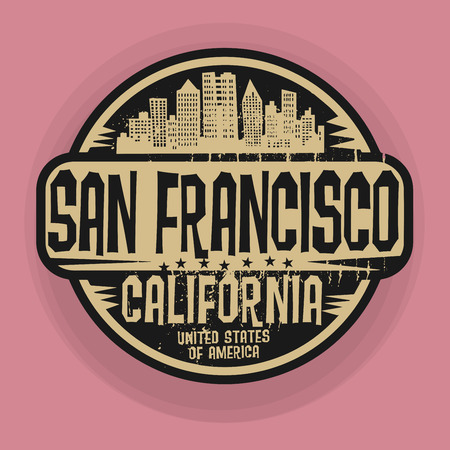 san francisco: Stamp or label with name of San Francisco, California, illustration