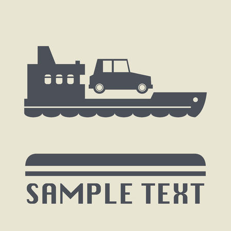 ferries: Ferry boat icon or sign, illustration
