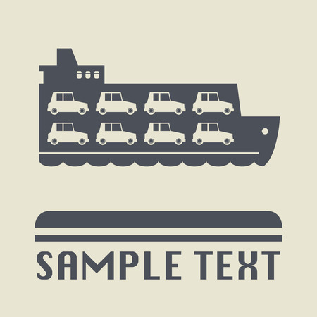ferry: Ferry boat icon or sign, vector illustration