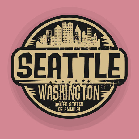 Stamp or label with name of Seatle, Washington, vector illustration Vector