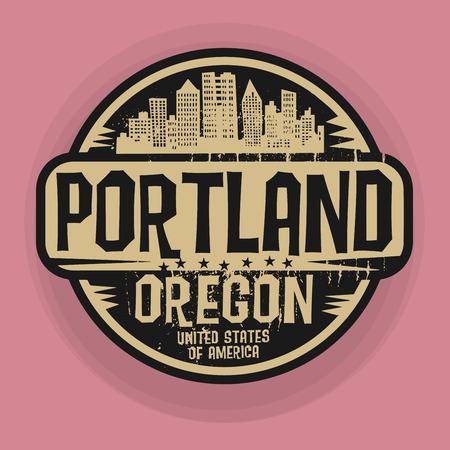 スタンプまたはポートランド、オレゴン州、ベクトル図の名前とラベル