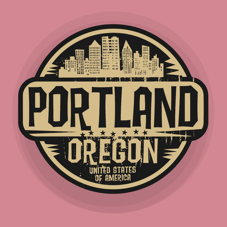 Stamp or label with name of Portland, Oregon, vector illustration