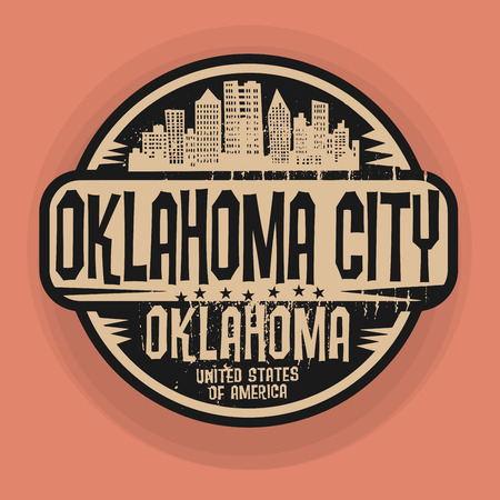 oklahoma: Stamp or label with name of Oklahoma City, Oklahoma, vector illustration