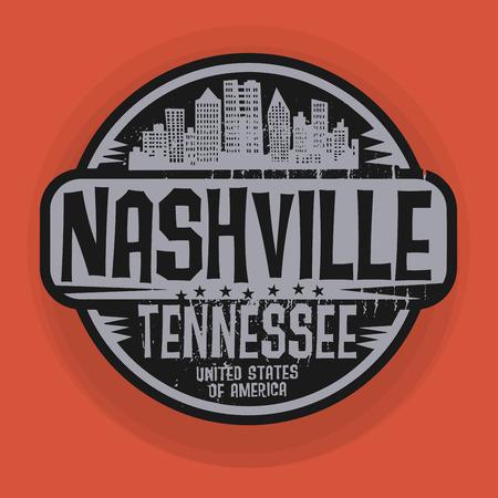 nashville: Stamp or label with name of Nashville, Tennessee, vector illustration Illustration