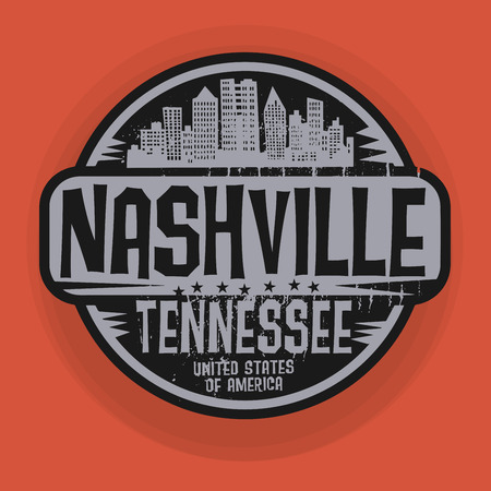 Stamp or label with name of Nashville, Tennessee, vector illustration Illustration