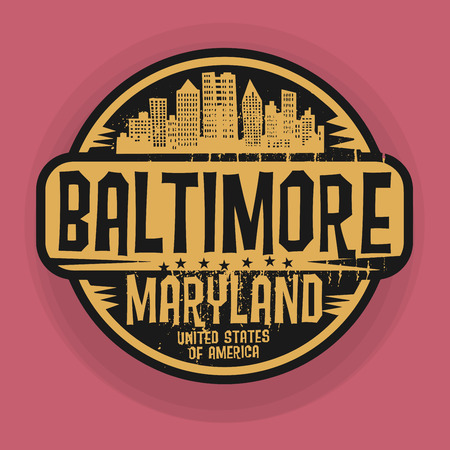 baltimore: Stamp or label with name of Baltimore, Maryland, vector illustration